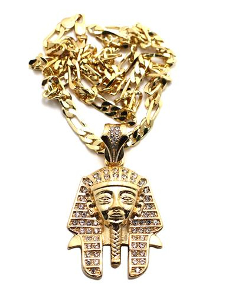 King Tut Hip Hop Pharaoh Pendant Gold Chain