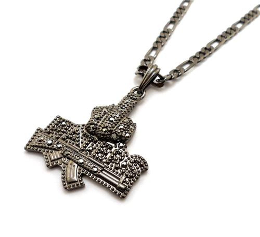 Iced Out Middle Finger To The Haters Pendant Black