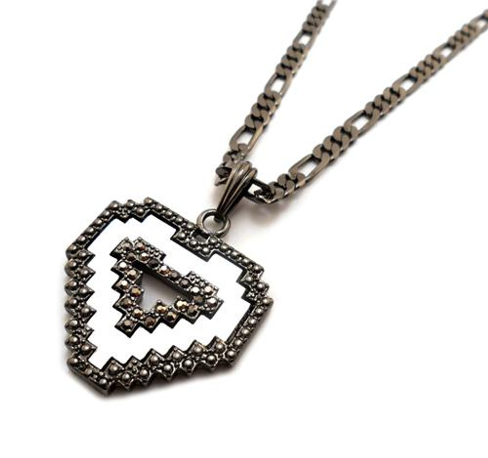 Diamond Cz Digital Heart Pendant Chain Necklace Black