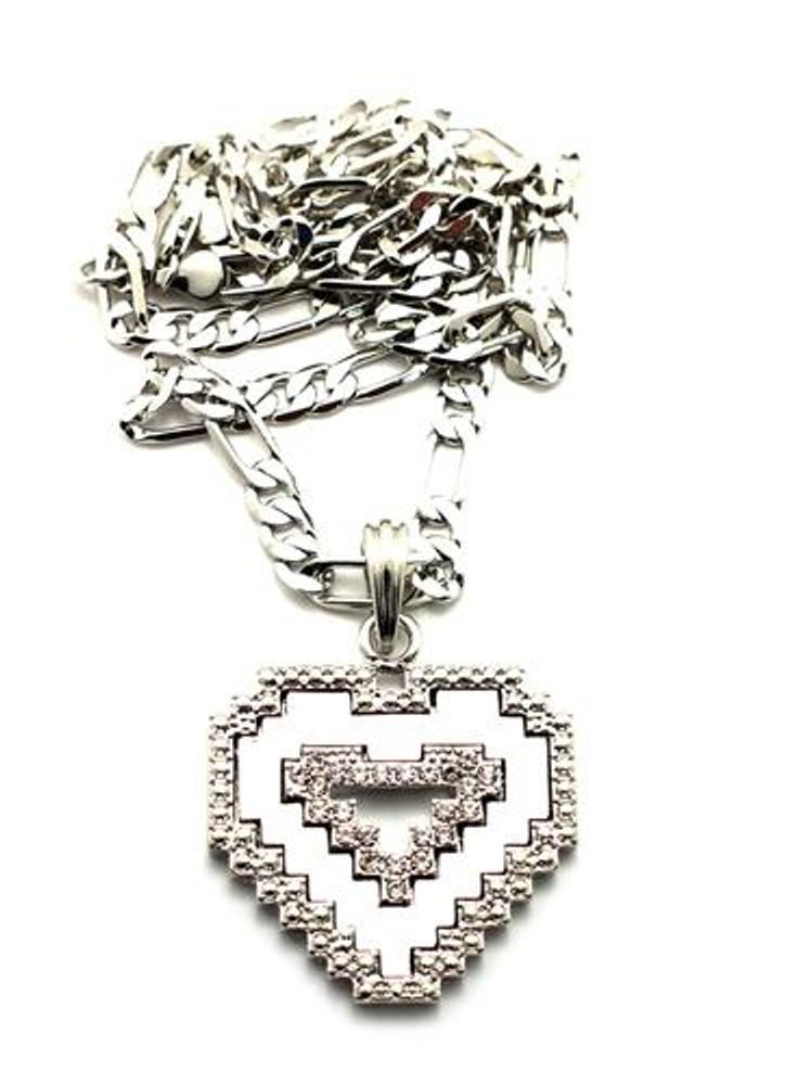 Diamond Cz Digital Heart Pendant Chain Necklace Silver