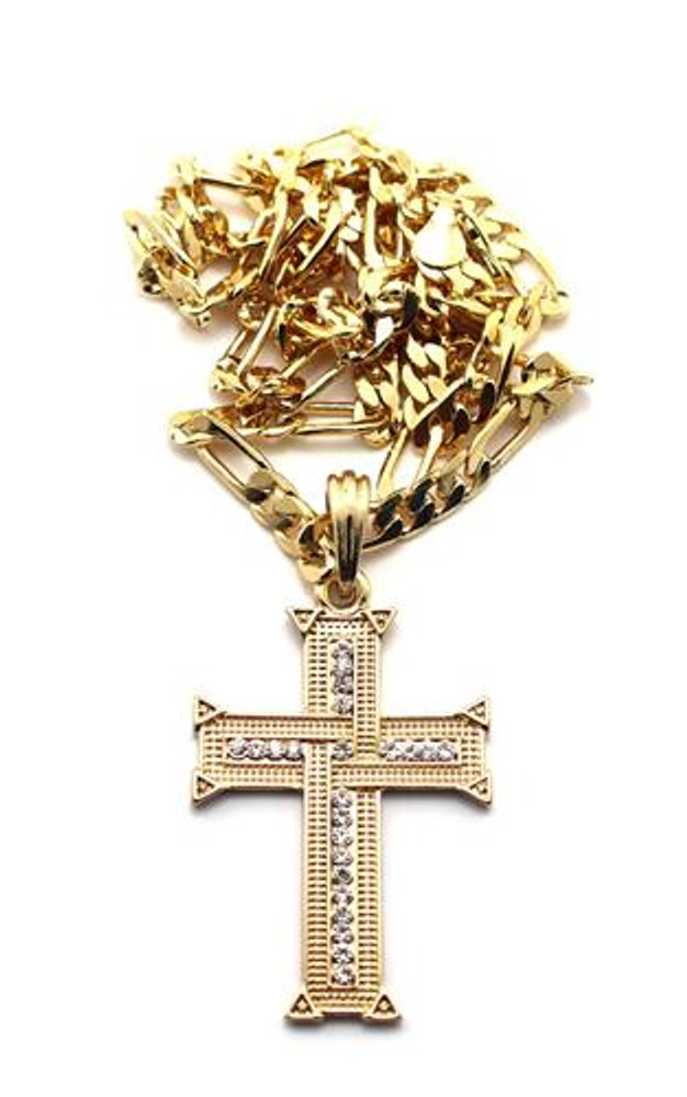 Knit Cross Pendant w/ Figaro Chain Gold