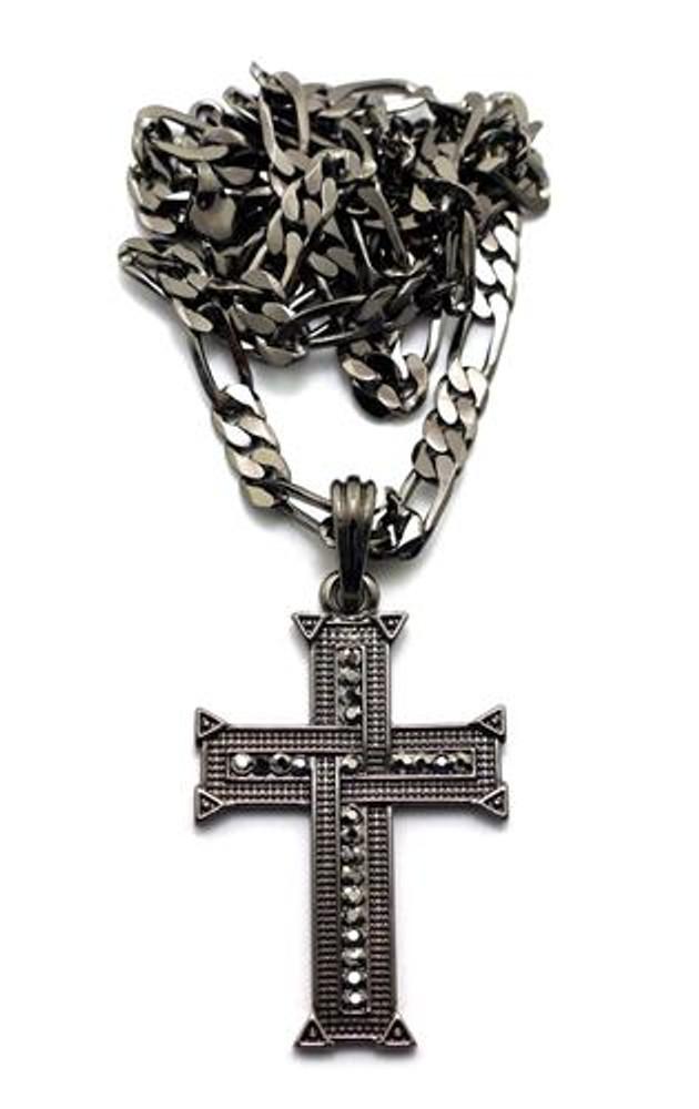 Knit Cross Pendant w/ Figaro Chain Black