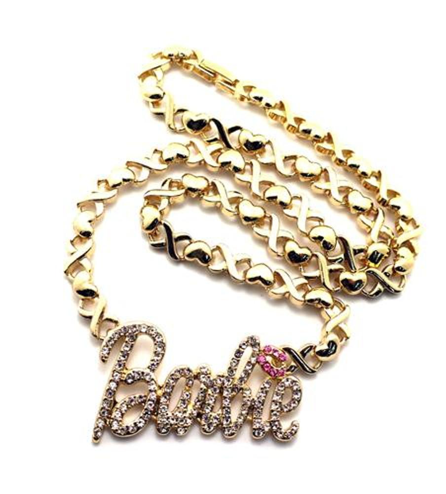 Cz Barbie Pendant w/ Heart Necklace Gold