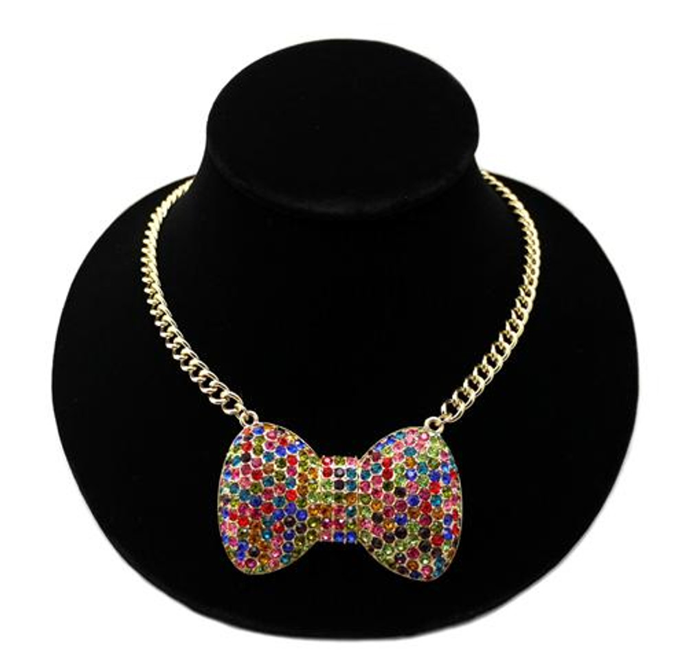 Big Love Bow Tie Ribbon Pendant Necklace / Rainbow Stones Gold