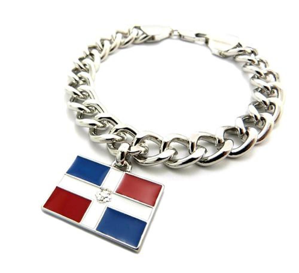 Dominican Republic Flag Silver Link Hip Hop Bracelet