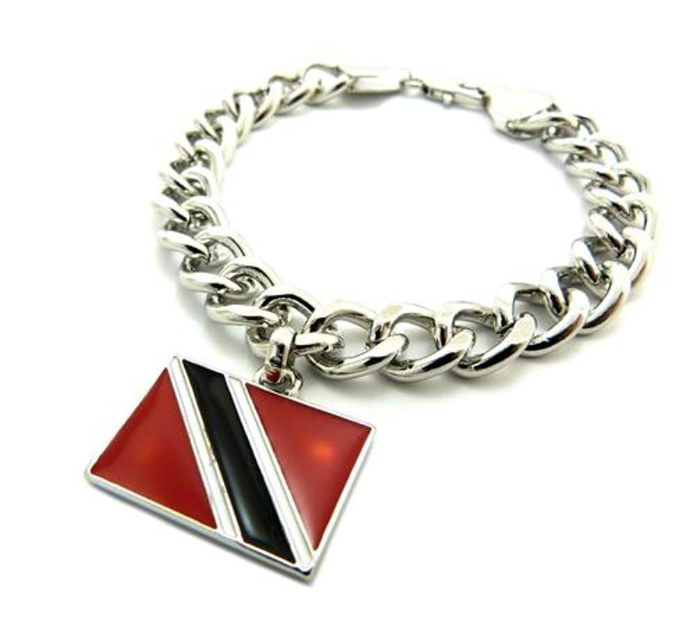 TRINIDAD AND TOBAGO Flag Silver Link Hip Hop Bracelet
