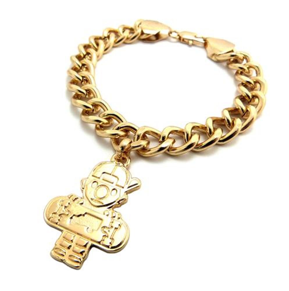 Skateboard Hip Hop Link Bracelet Gold