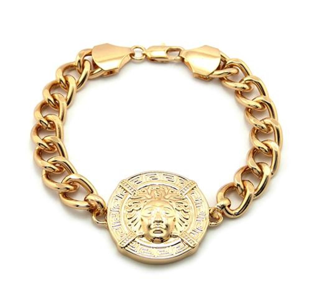 Medusa Head Gold Medallion Link Bracelet