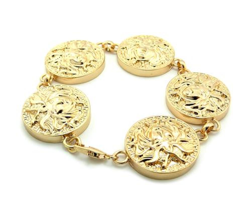 Medusa Snake Link Medallion Style Hip Hop Bracelet