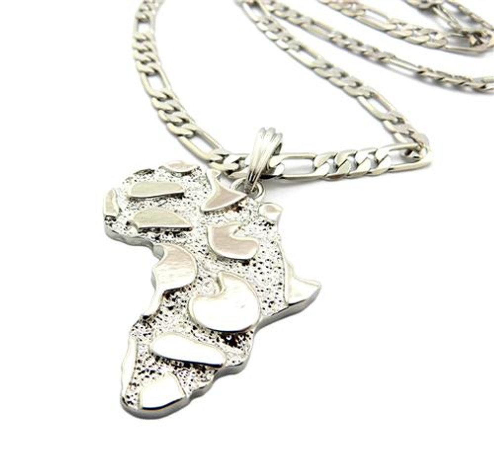 Mother Africa Nugget Pendant w/ Chain Silver