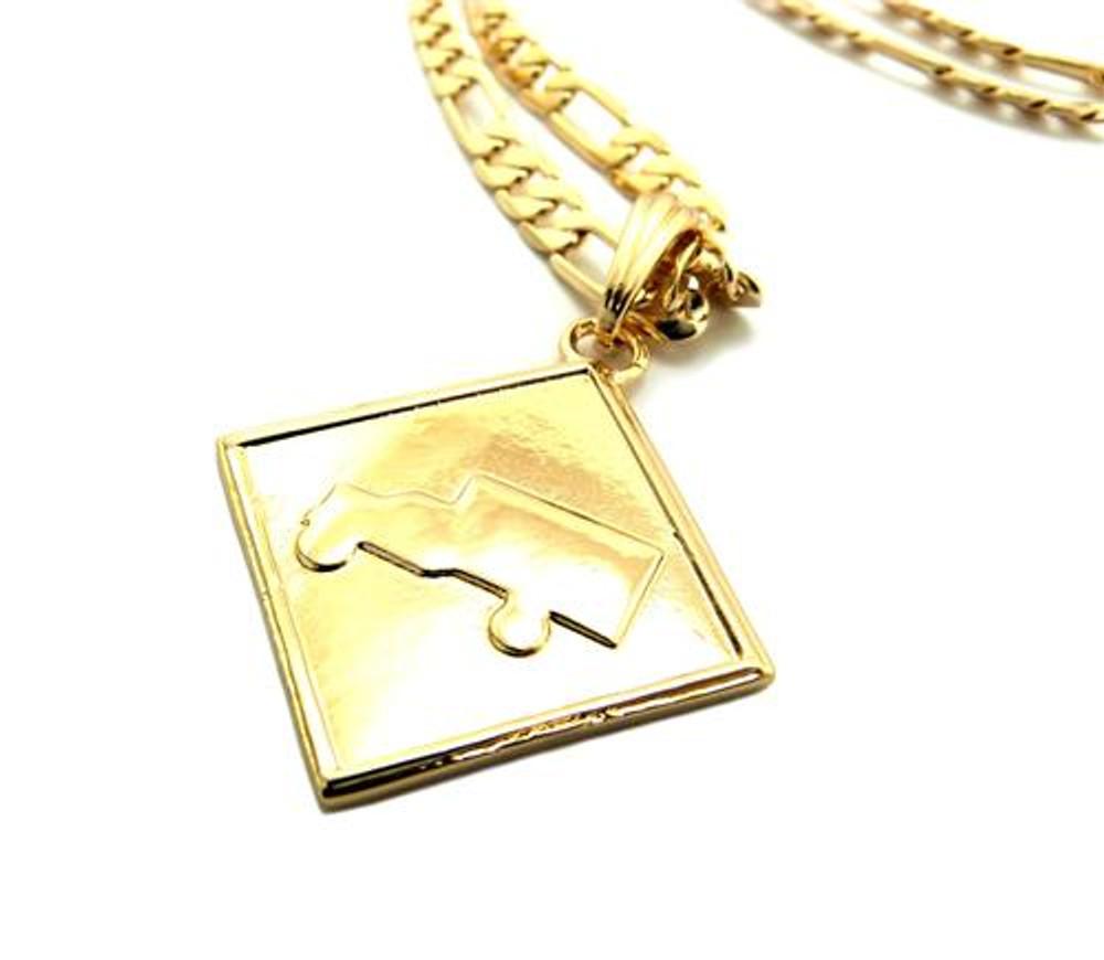 Hip Hop Lil Wayne Trukfit Pendant w/ Figaro Link Chain Gold