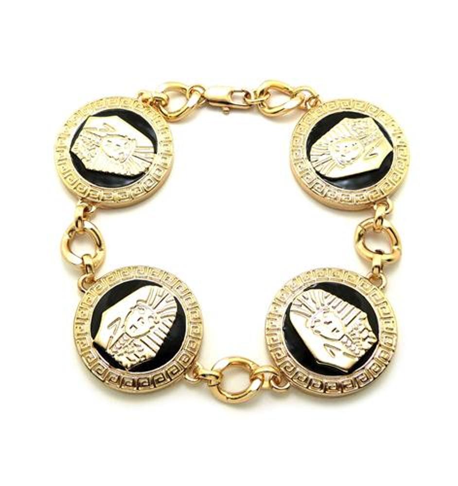 Egyptian King Tut 14k Gold GP Black Enameled Bracelet