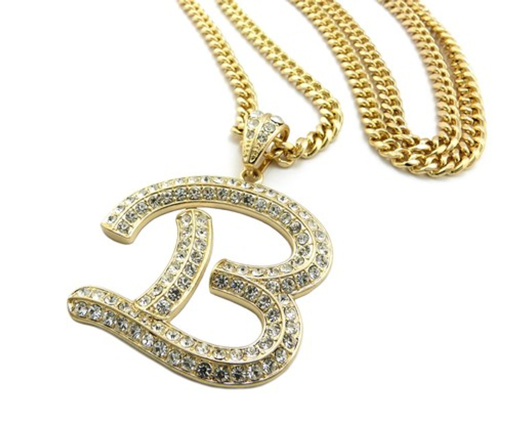 Iced Out Initial B Gold Pendant w/ Miami Cuban Link Chain