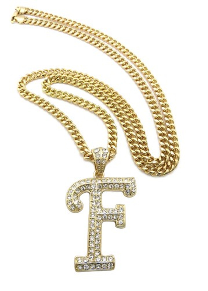 Iced Out Initial F Gold Pendant w/ Miami Cuban Link Chain