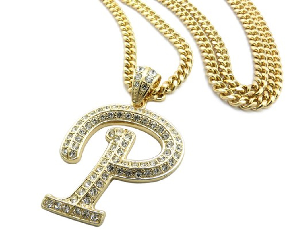 Iced Out Initial P Gold Pendant w/ Miami Cuban Link Chain