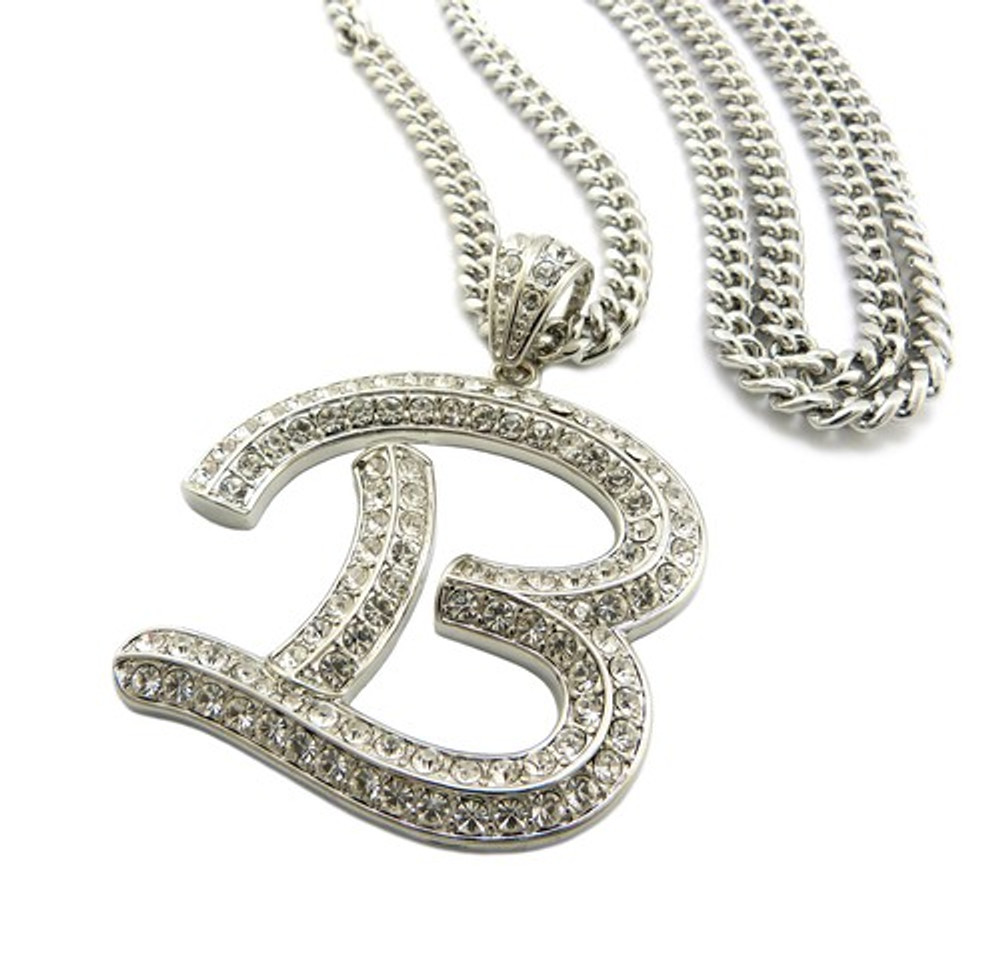 Iced Out Initial B Silver Pendant w/ Miami Cuban Link Chain