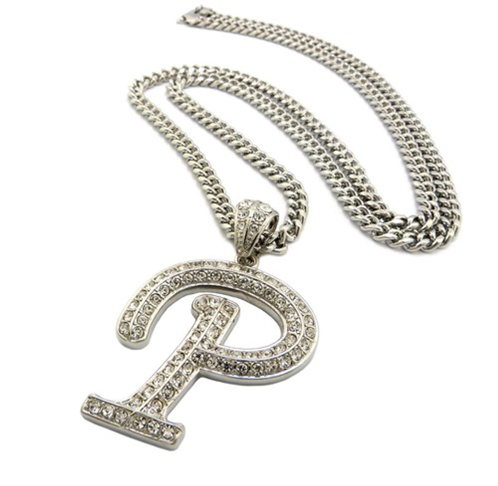 Iced Out Initial P Silver Pendant w/ Miami Cuban Link Chain