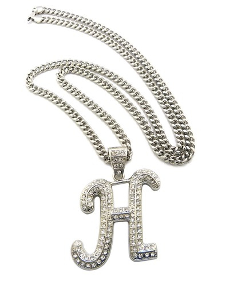 Iced Out Initial H Silver Pendant w/ Miami Cuban Link Chain