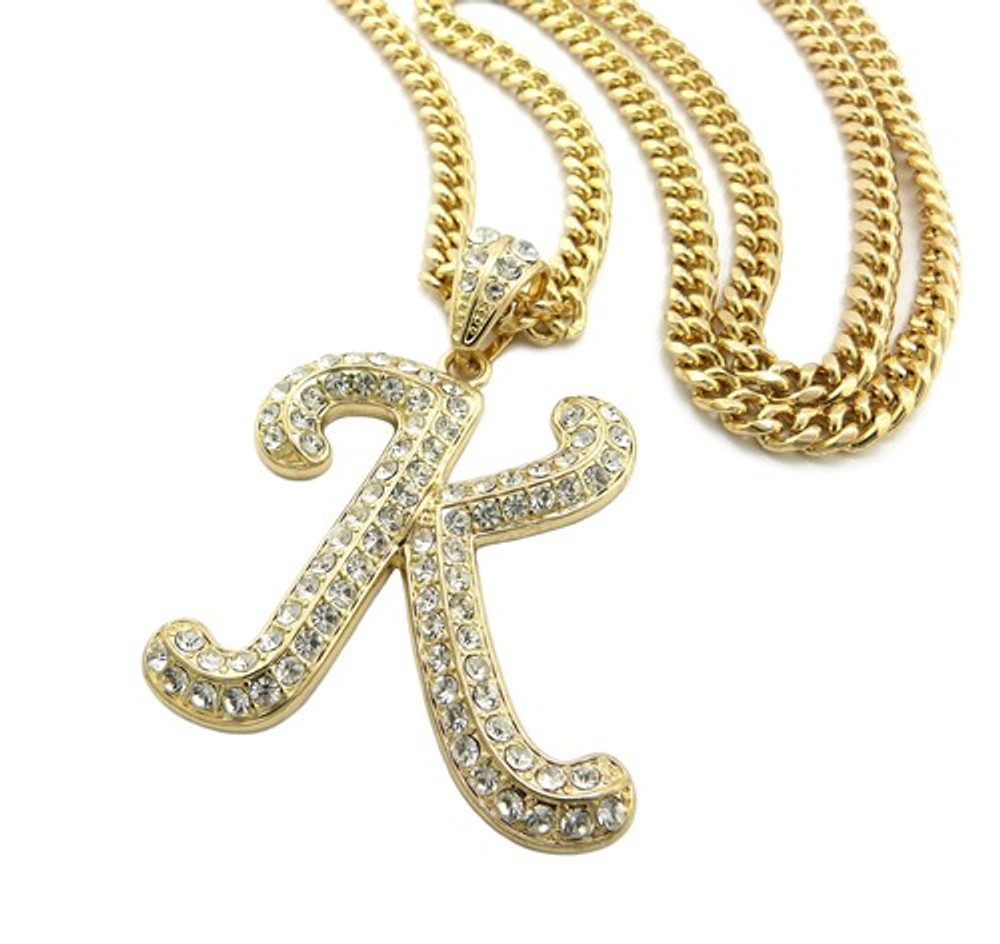 Iced Out Initial K Gold Pendant w/ Miami Cuban Link Chain