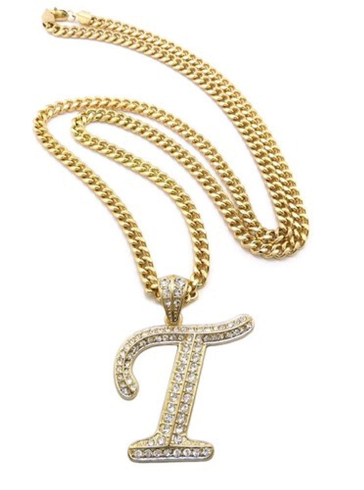 Iced Out Initial T Gold Pendant w/ Miami Cuban Link Chain