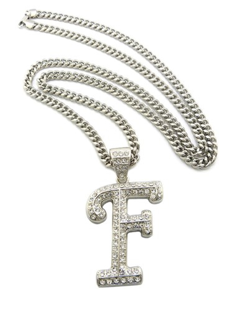 Iced Out Initial F Silver Pendant w/ Miami Cuban Link Chain