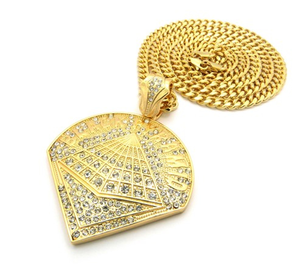 Chris Brown Inspired Black Pyramid 14K Gold Hip Hop Pendant