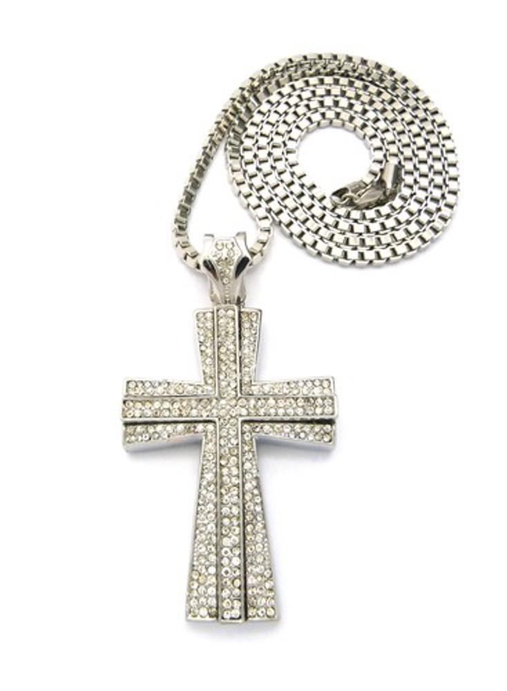 Hip Hop 3D Ridge Cross Pendant w/ Box Chain Necklace