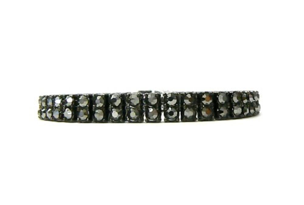 Mens Hip Hop 100 Stone Double Row Hip Hop Bracelet  Black