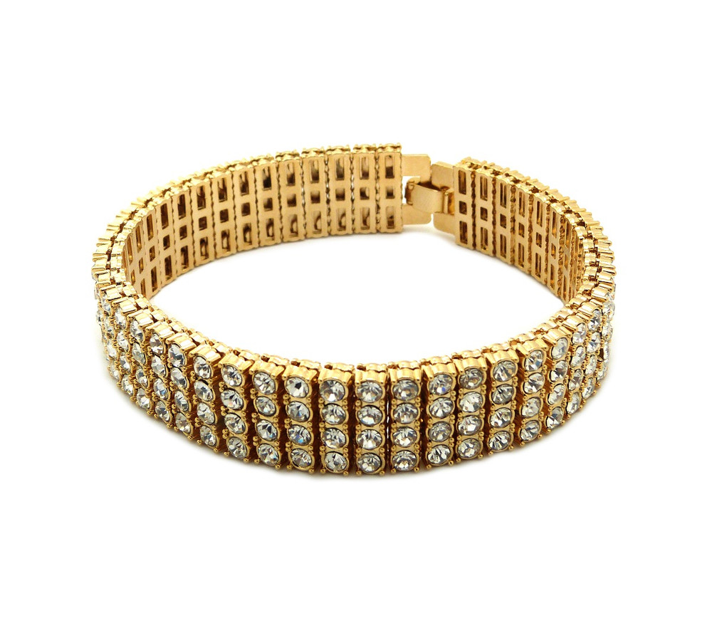 Iced Out 4 Row Pharaoh Diamond Cz Bling Bracelet 14k Gold