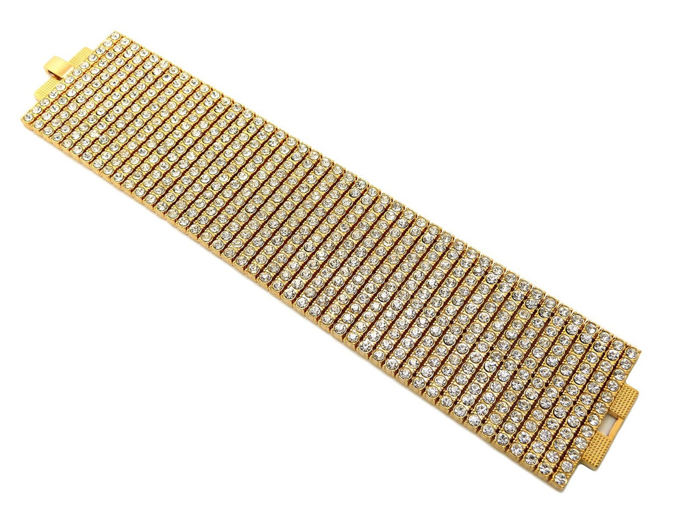 Mens 14k Gold Hip Hop 600 Stone Diamond Cz Bling Bracelet