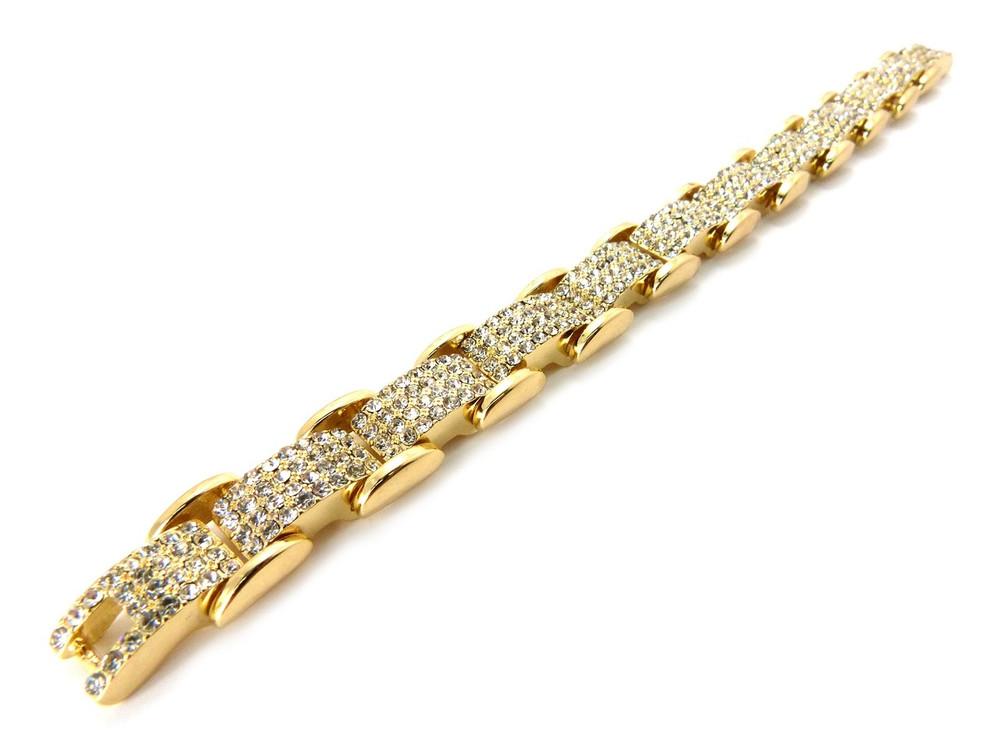 Iced Out Diamond Cz Premium Stone Bracelet 14k Gold