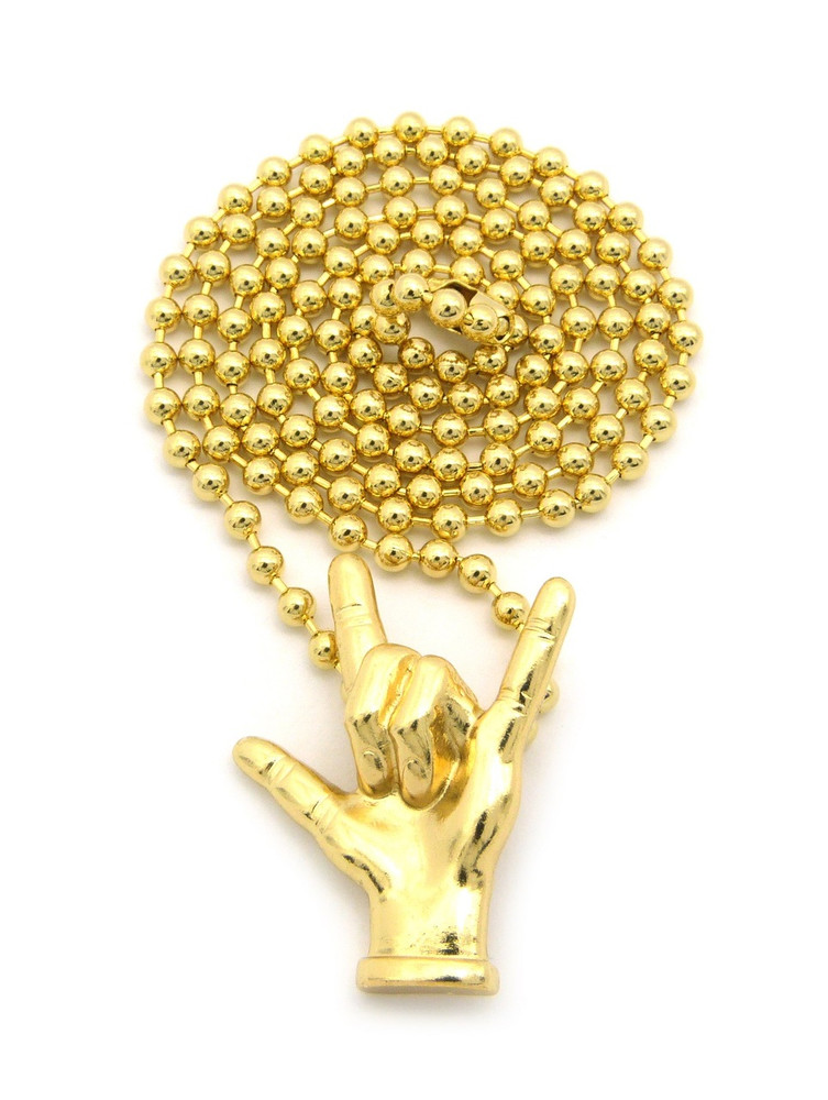 I Love You Hand Sign Language Pendant and Ball Link Chain Gold