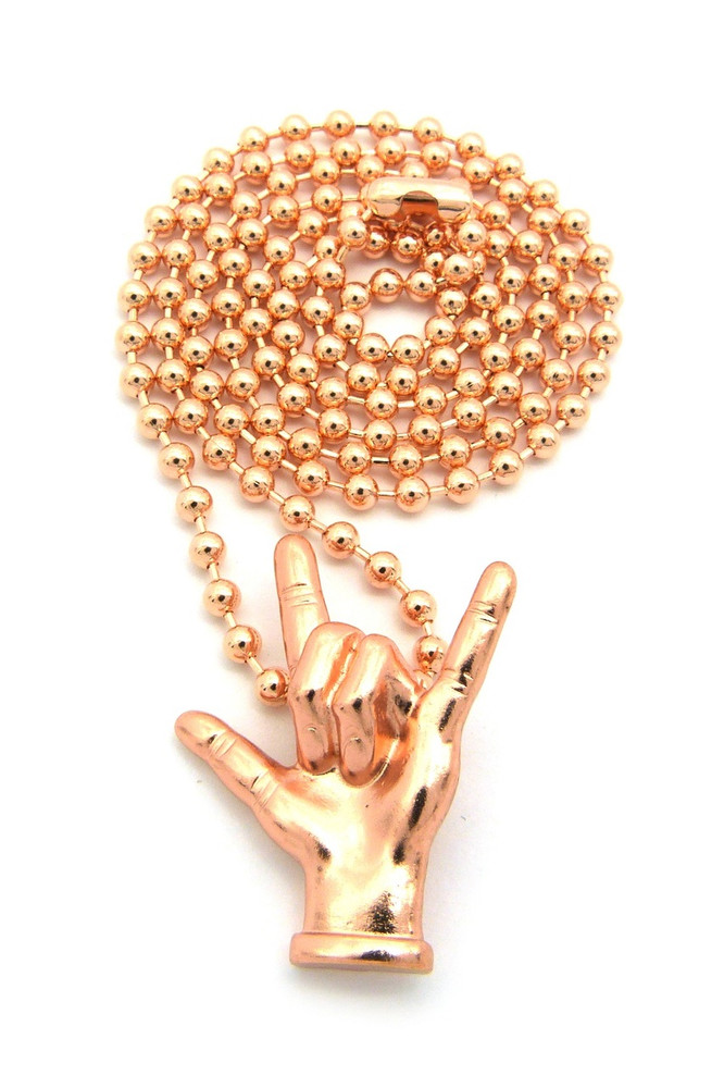 I Love You Hand Sign Language Pendant Chain Rose Gold