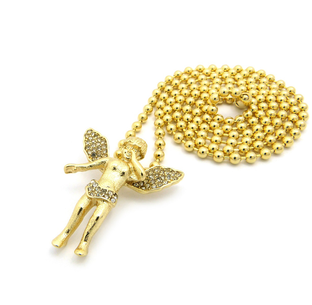 Opened Winged Micro Small Angel Pendant w/ Ball Chain Gold