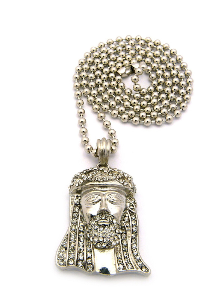 Small Micro Iced Out Crown JESUS Piece Pendant Ball Chain Silver