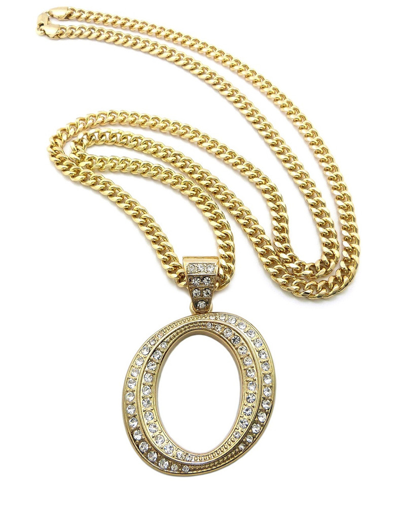 Iced Out Initial O Gold Pendant w/ Miami Cuban Link Chain