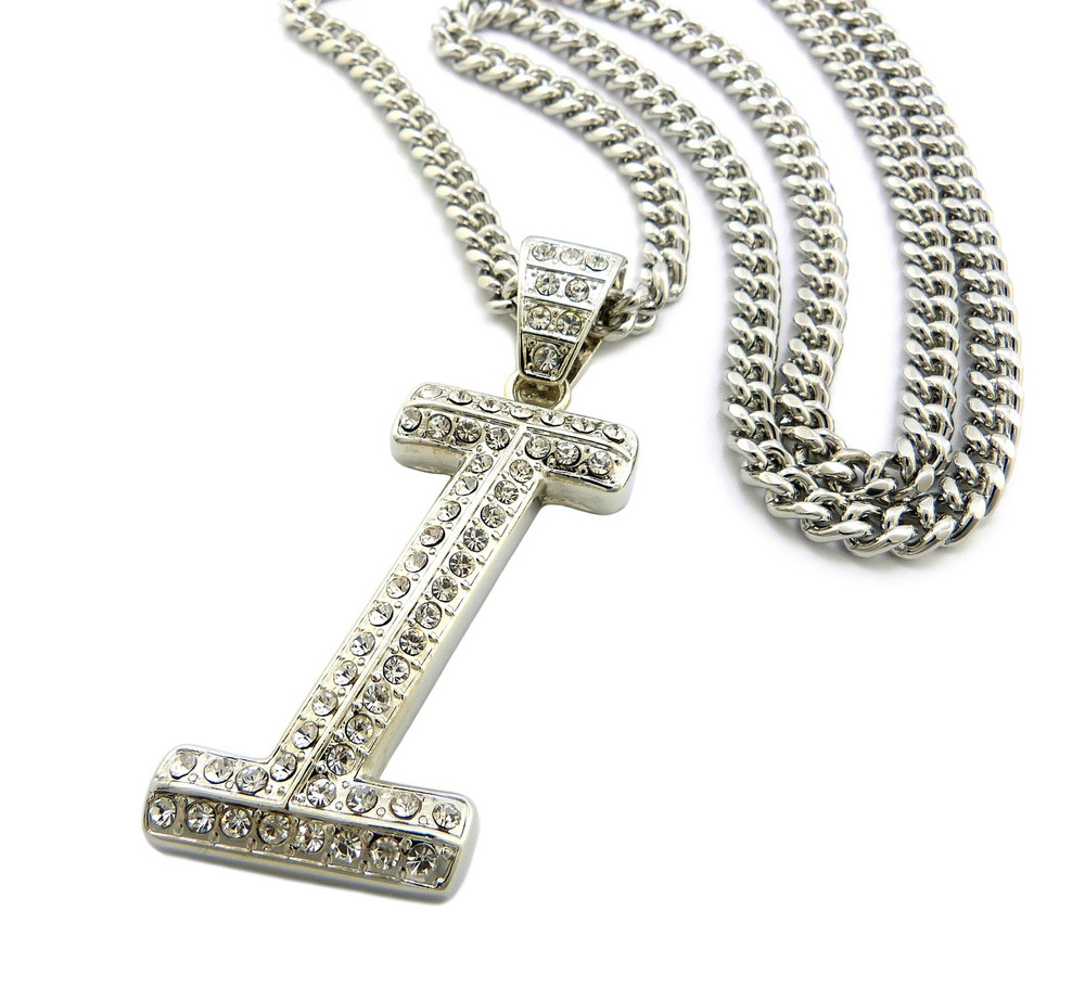 Iced Out Initial I Silver Pendant w/ Miami Cuban Link Chain