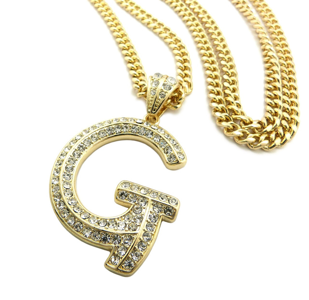 Iced Out Initial G Gold Pendant w/ Miami Cuban Link Chain - Bling ...