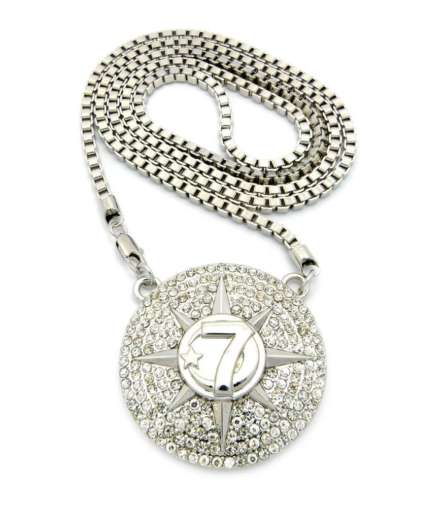 Hip Hop 7 Star Allah Chain Pendant Silver