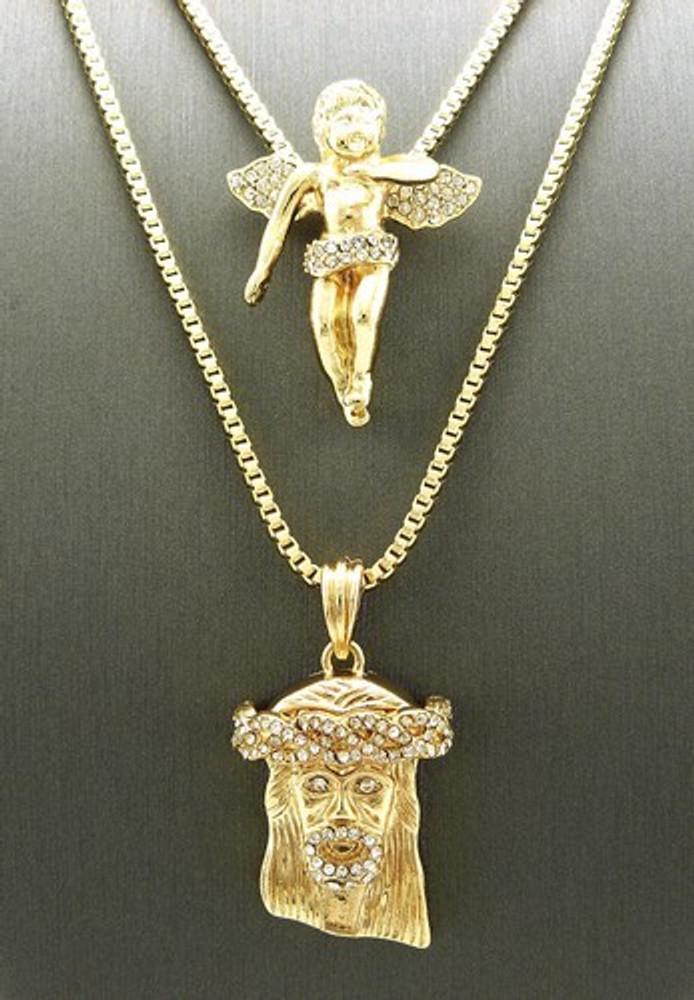 Hip Hop Jesus and Gold Cz Winged Cherubim Pendant Chains Set