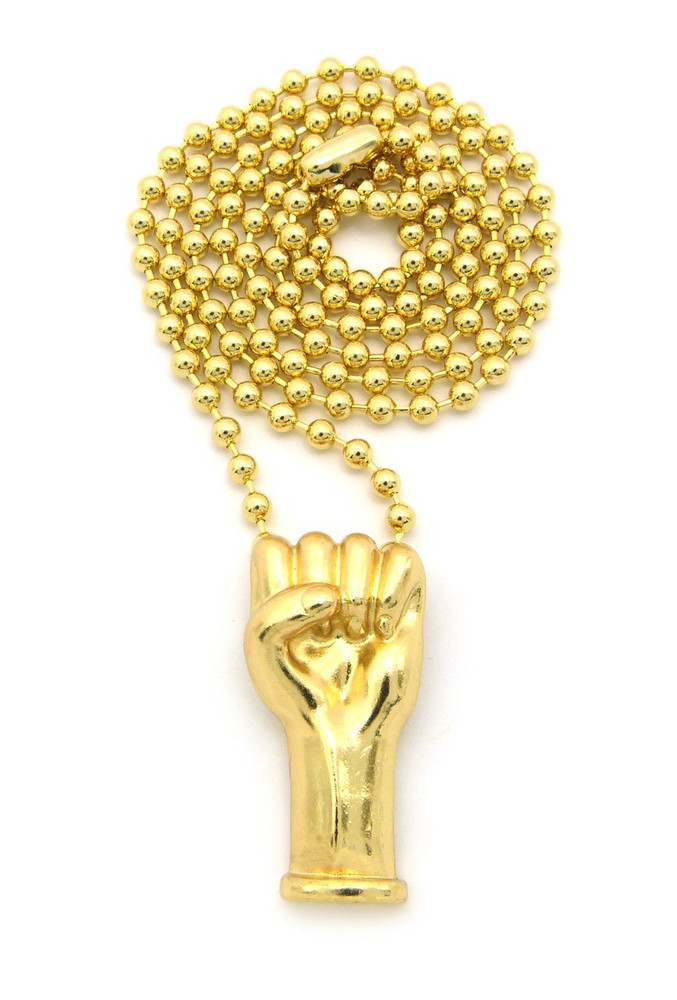 Hip Hop Black Power Fist Hand Pendant Ball Chain