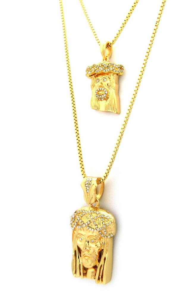 fellocoo dp mini hiphop pendant chain gold out jesus by amazon iced necklace com piece