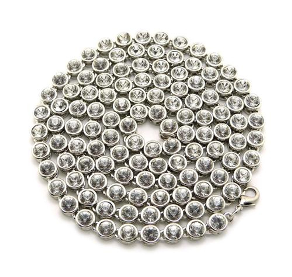 4mm 36 Inch Hip Hop Ballers Cz Stone Iced Out Chain Silver