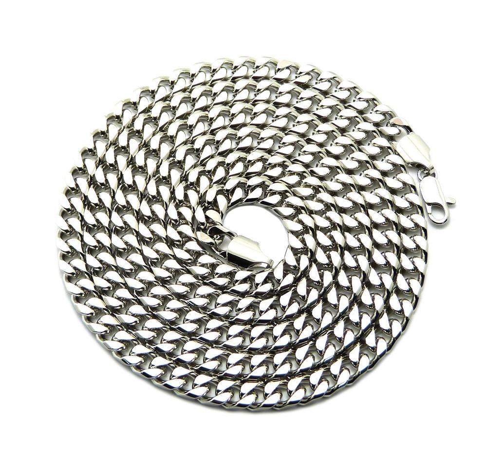 Mens Hip Hop 6mm 36 Inch Miami Cuban Link Chain Silver