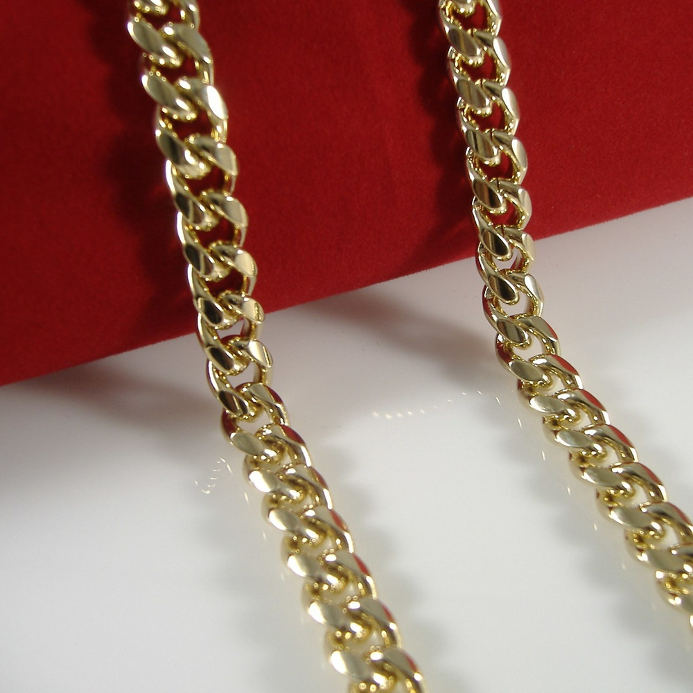 Mens Hip Hop 8mm 24 Inch Miami Cuban Link Chain Necklace Gold