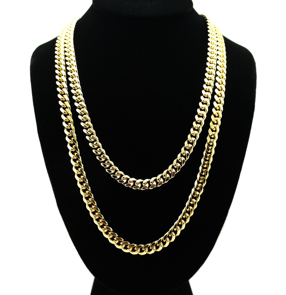 pics blingjewelz cuban miami link inch chain hip gold necklace mens new hop