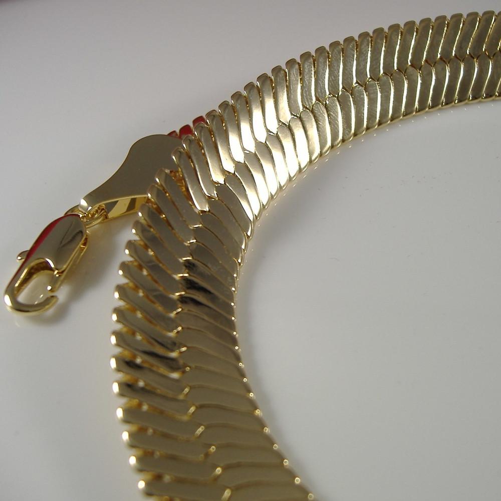 14K Gold Thick Cut Hip Hop Herringbone Chain Necklace