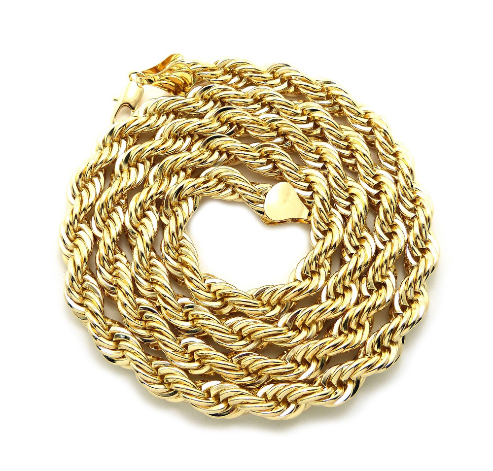 Men's Hip Hop Gold 10mm 36 Inch Rope Chain Necklace