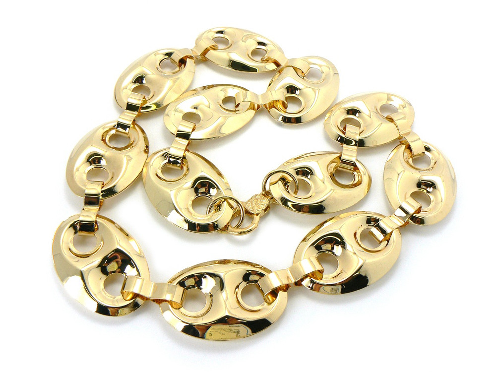 Old School G- Link Style Hip Hop Chain Necklace Gold