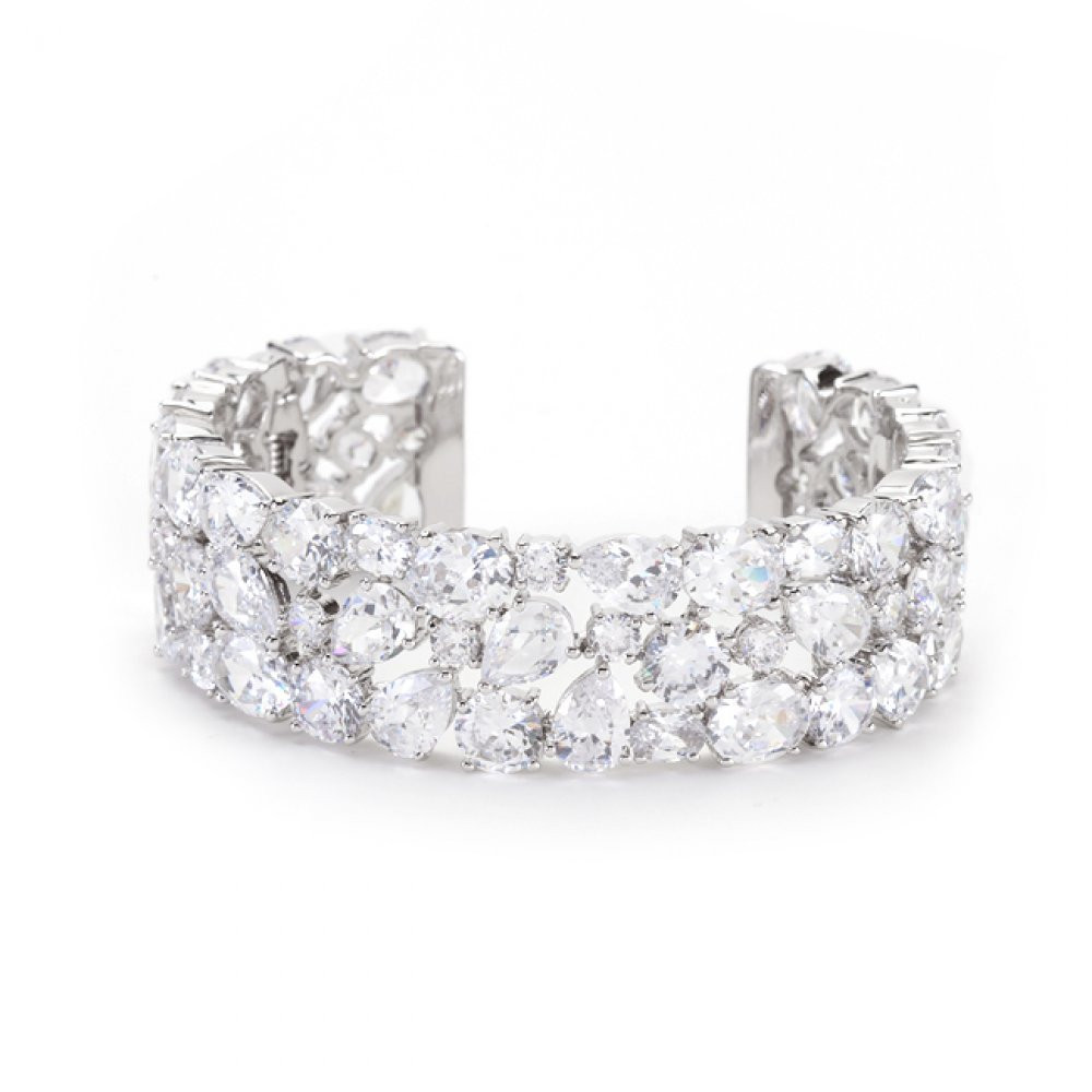 Boldly Charming 170.75 Ct Bold Simulated Diamond Cuff Contemporary Bracelet